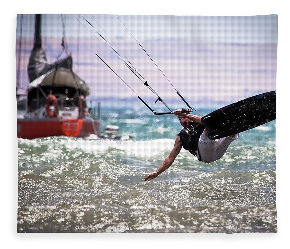 Expertise Fleece Blanket featuring the photograph Kite Board Action by Ann Clarke Images