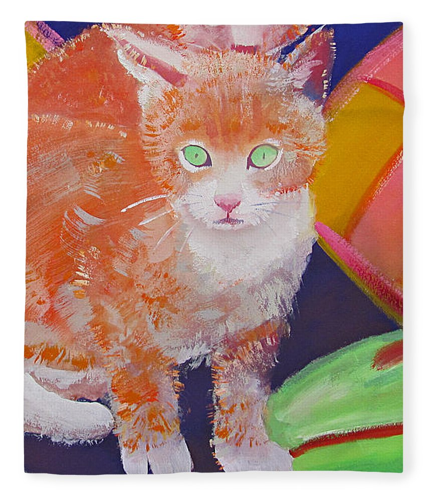 Kittens Fleece Blanket featuring the painting kittens With A Ball of Wool by Charles Stuart