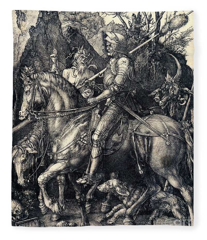 Knight Fleece Blanket featuring the drawing Knight Death And The Devil by Albrecht Durer