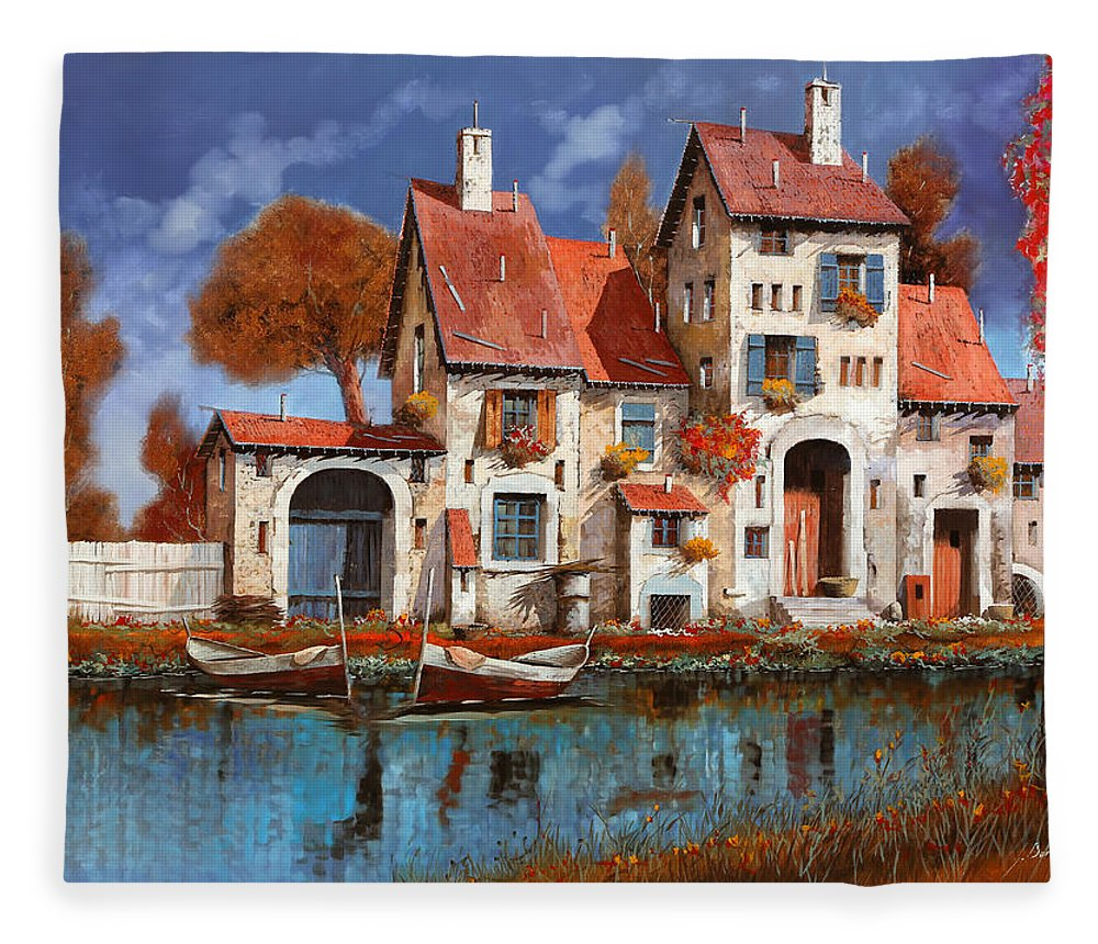 Little Village Fleece Blanket featuring the painting La Cascina Sul Lago by Guido Borelli