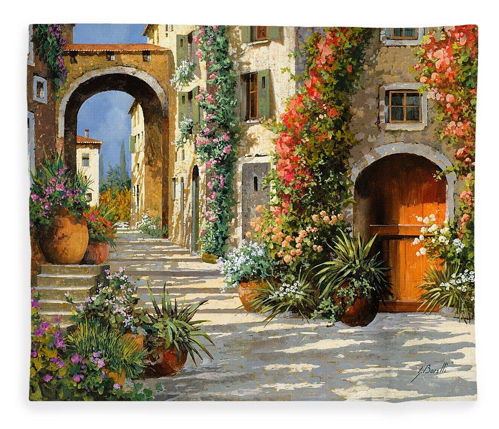 Landscape Fleece Blanket featuring the painting La Porta Rossa Sulla Salita by Guido Borelli