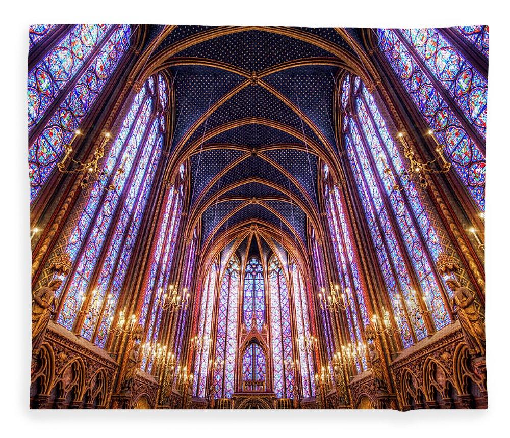 Arch Fleece Blanket featuring the photograph La Sainte-chapelle Upper Chapel, Paris by Joe Daniel Price