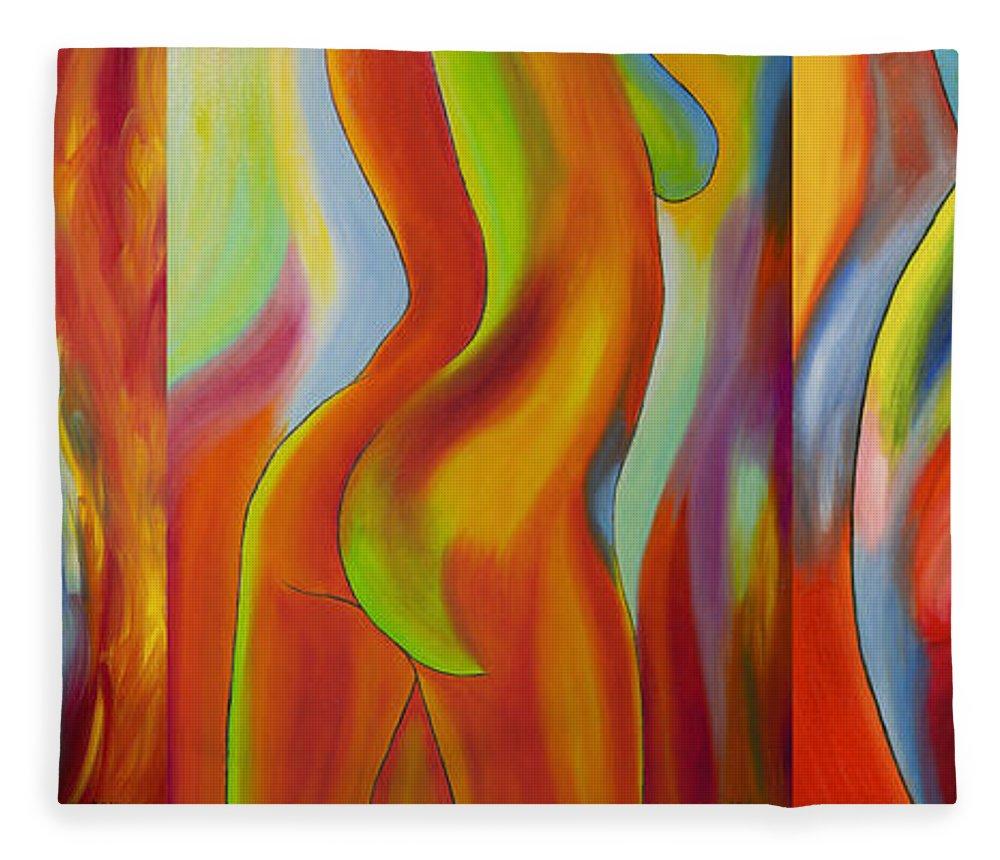Abstract Fleece Blanket featuring the painting Ladies by Veikko Suikkanen
