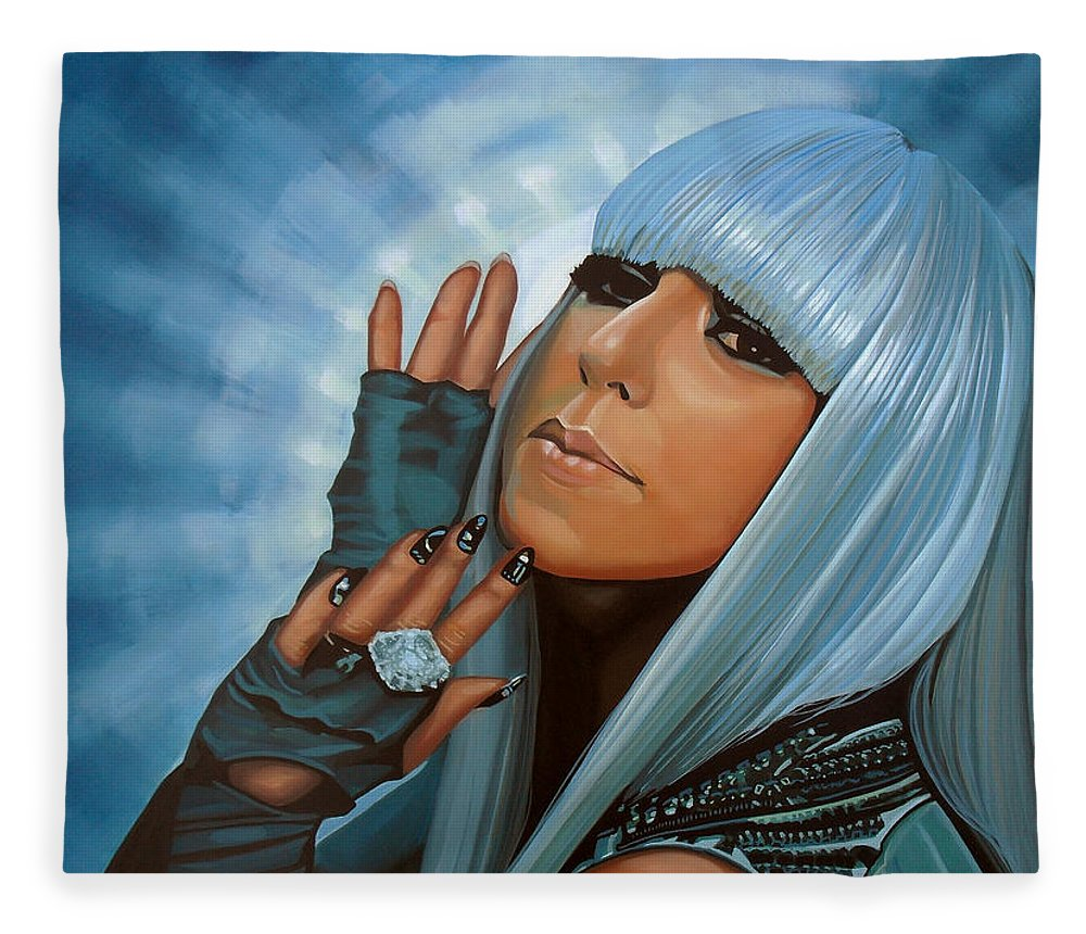 Lady Gaga Fleece Blanket featuring the painting Lady Gaga Painting by Paul Meijering