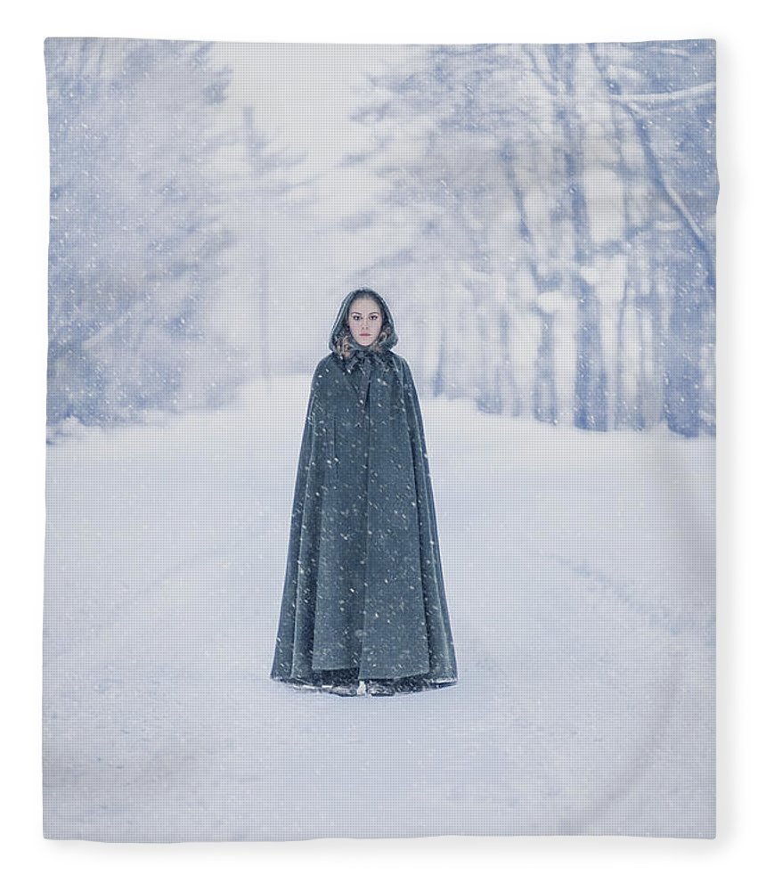 Kremsdorf Fleece Blanket featuring the photograph Lady Of The Winter Forest by Evelina Kremsdorf
