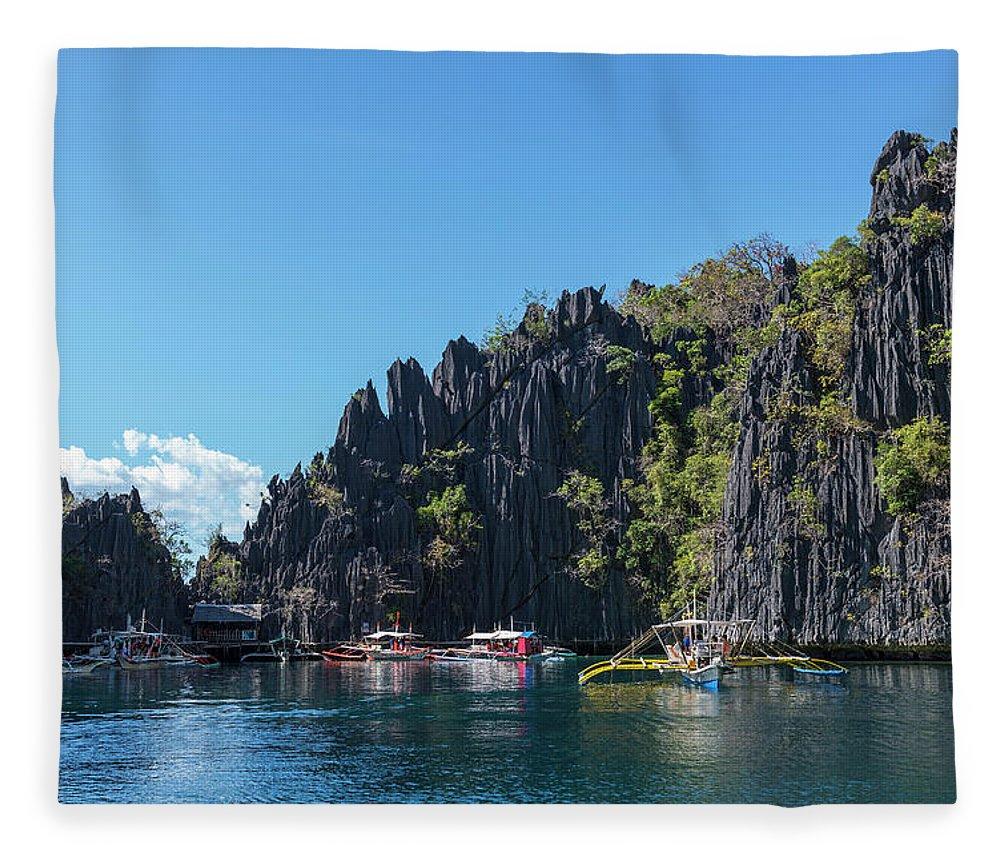 Outdoors Fleece Blanket featuring the photograph Lagoon, Coron, Palawan, Phillippines by John Harper
