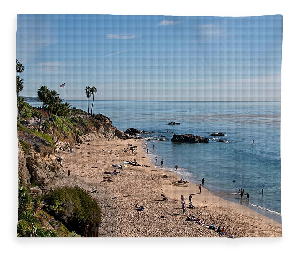 Tranquility Fleece Blanket featuring the photograph Laguna Beach Cove by Mitch Diamond