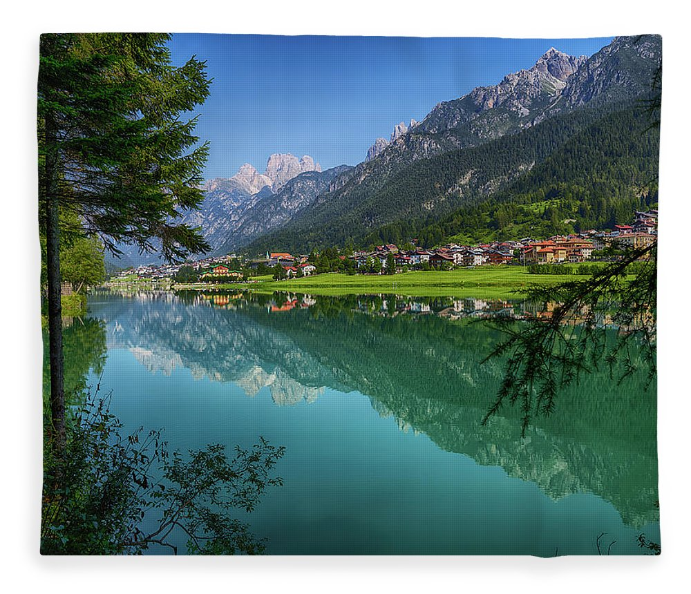 Veneto Fleece Blanket featuring the photograph Lake. Color Image by Claudio.arnese