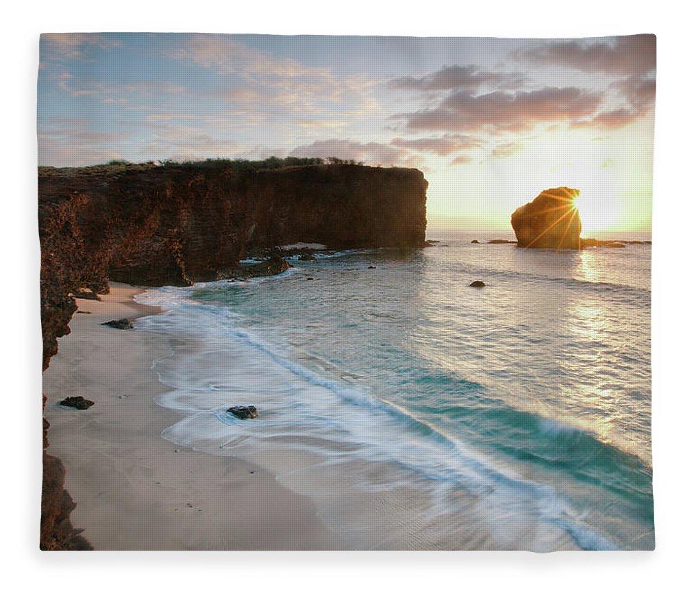 Scenics Fleece Blanket featuring the photograph Lanai Sunset Resort Beach by M Swiet Productions