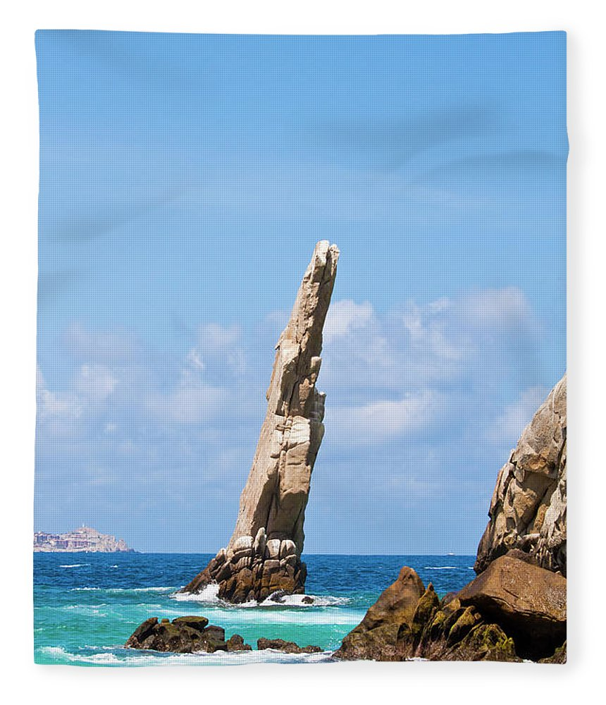 Scenics Fleece Blanket featuring the photograph Lands End Rock by Christopher Kimmel