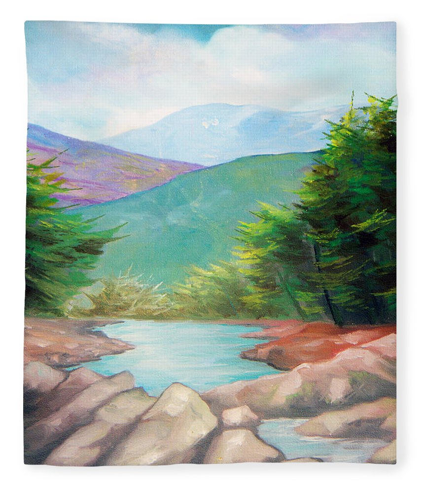 Bayou Fleece Blanket featuring the painting Landscape with a creek by Sergey Bezhinets