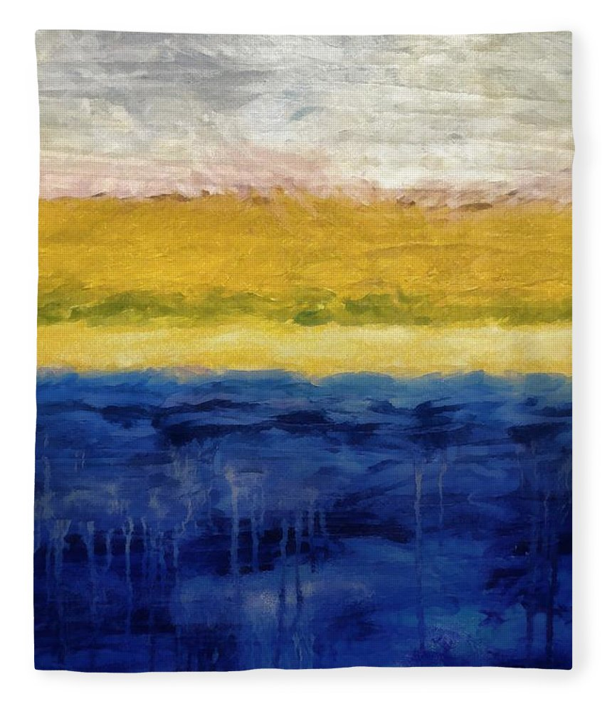 Oceanside Fleece Blanket featuring the painting Lapis And Gold Get Married by Michelle Calkins