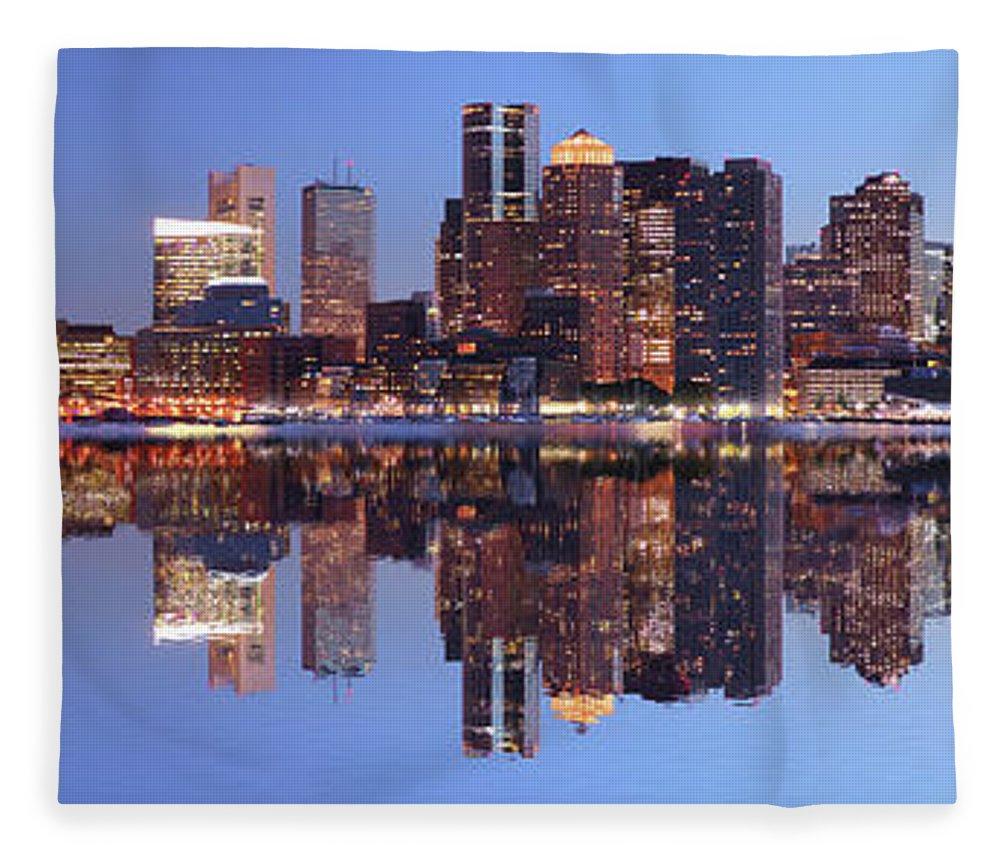 Water's Edge Fleece Blanket featuring the photograph Large Boston City Panorama At Night by Buzbuzzer