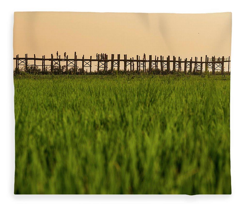 Built Structure Fleece Blanket featuring the photograph Large Rice Paddy Below U Bein Bridge by Merten Snijders