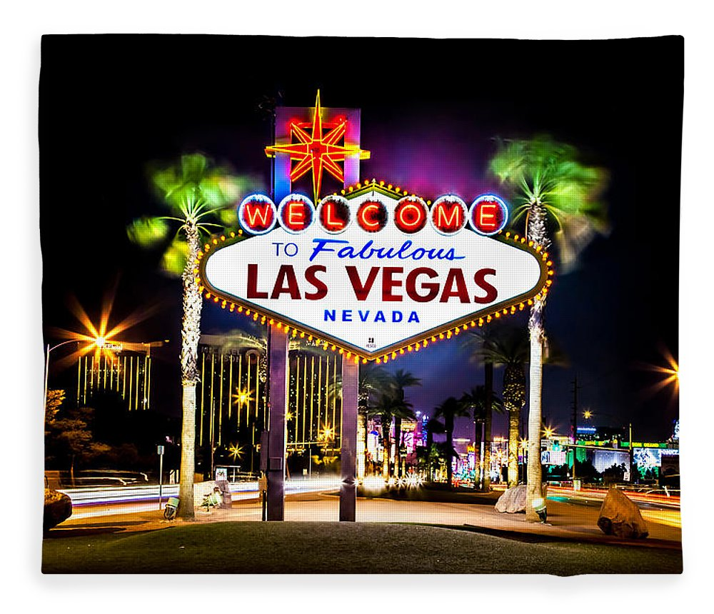 Las Vegas Fleece Blanket featuring the photograph Las Vegas Sign by Az Jackson