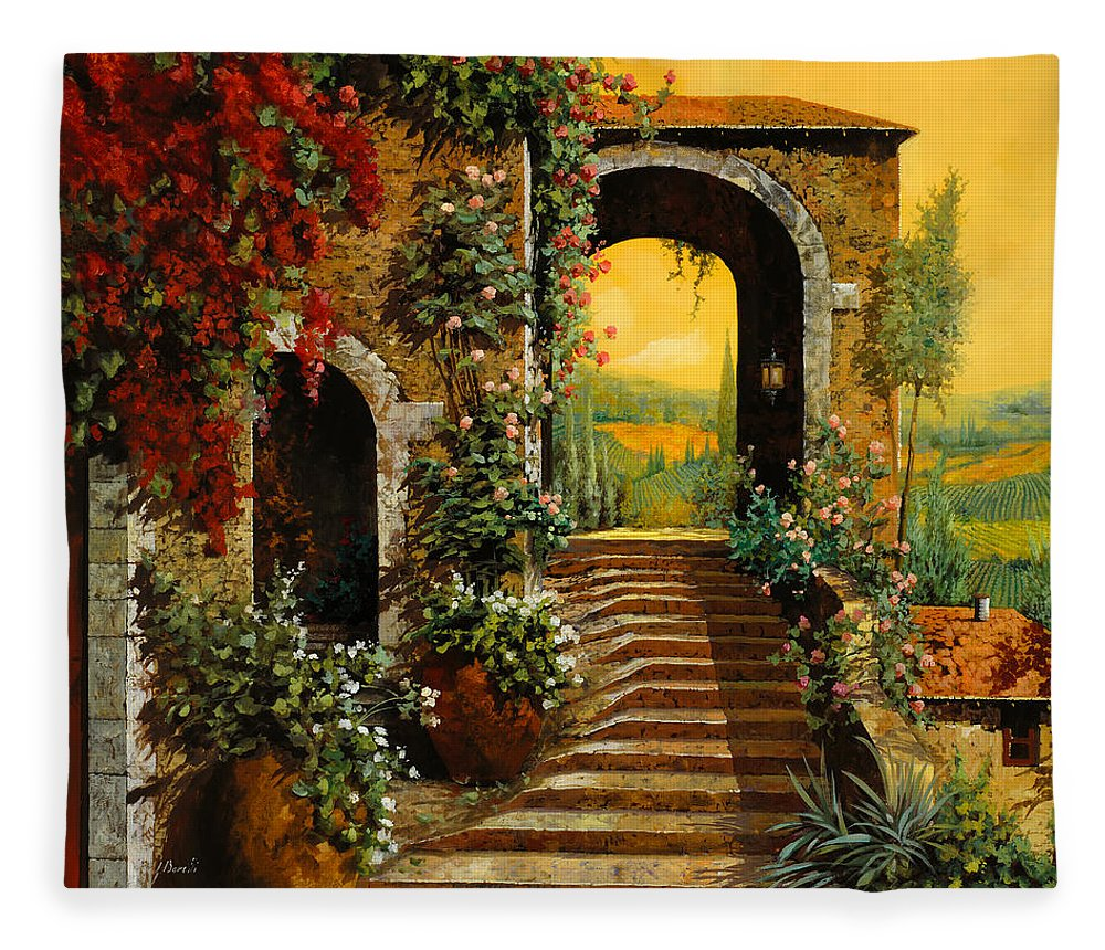 Arch Fleece Blanket featuring the painting Le Scale  by Guido Borelli