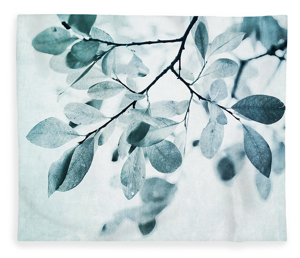 Foliage Fleece Blanket featuring the photograph Leaves In Dusty Blue by Priska Wettstein
