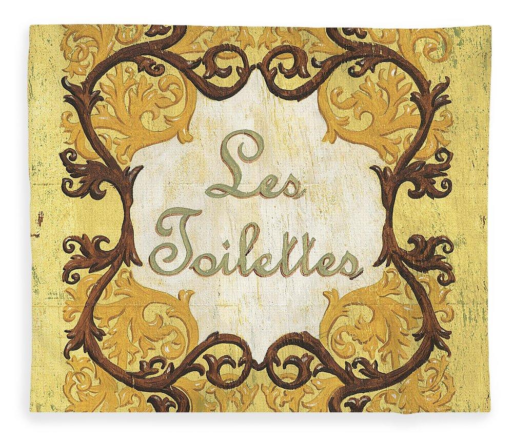 Les Toilettes Fleece Blanket featuring the painting Les Toilettes by Debbie DeWitt