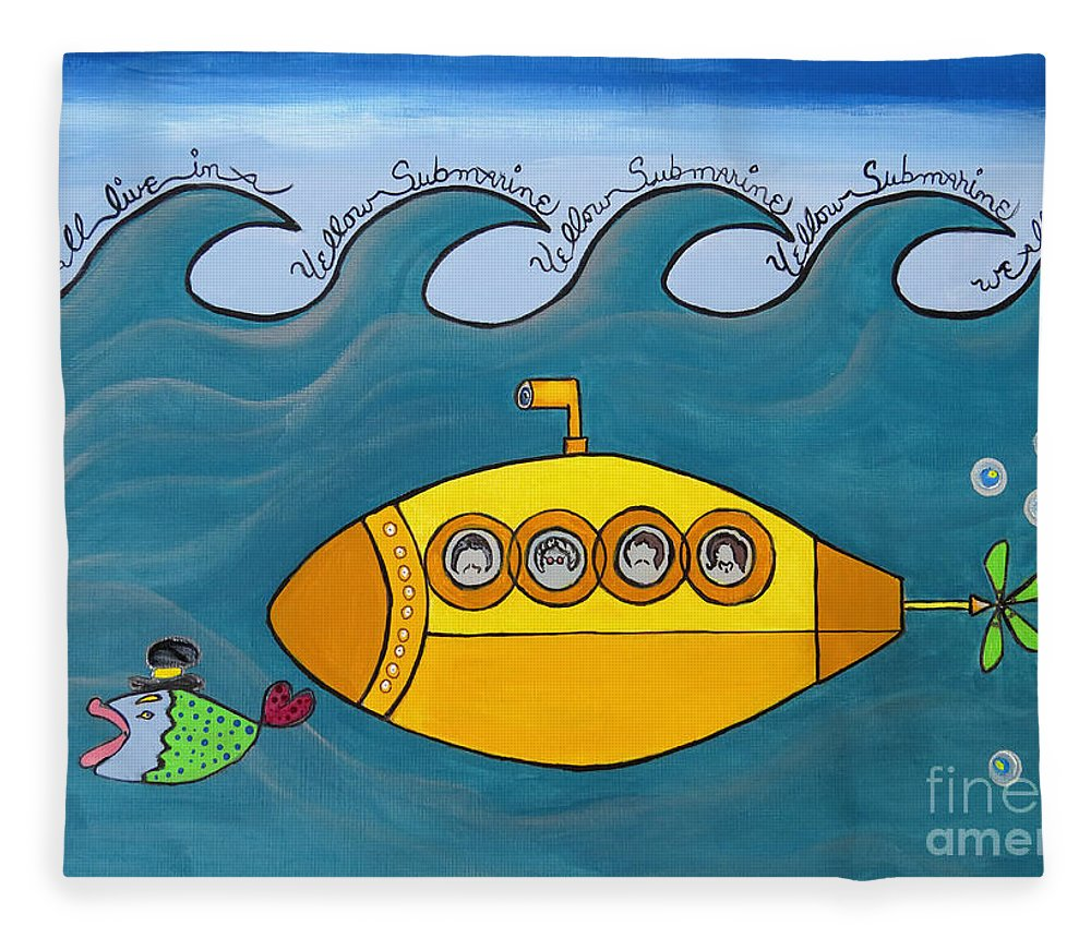 The Beatles Fleece Blanket featuring the painting Lets Sing The Chorus Now - the Beatles Yellow Submarine by Ella Kaye Dickey
