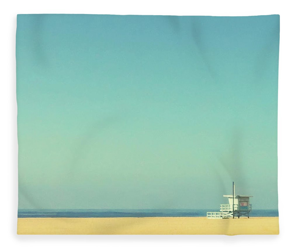 Tranquility Fleece Blanket featuring the photograph Life Guard Tower by Denise Taylor
