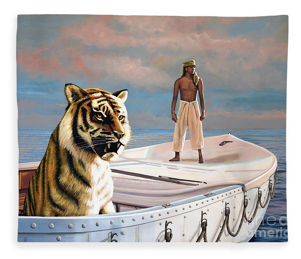 Life Of Pi Fleece Blanket featuring the painting Life Of Pi by Paul Meijering