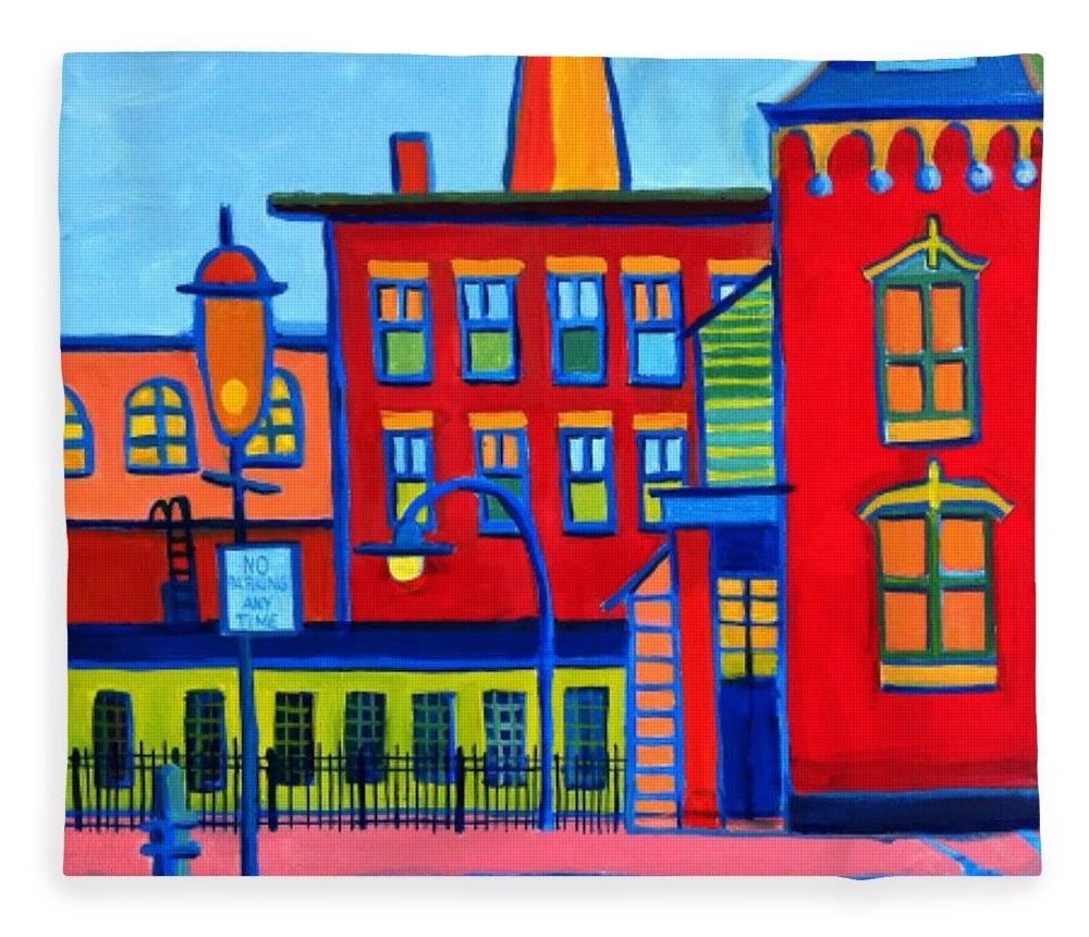 Landscape Fleece Blanket featuring the painting Life Revolving in the City Lowell MA by Debra Bretton Robinson
