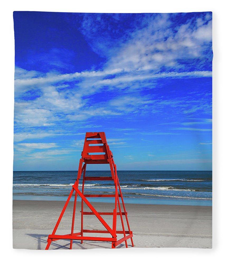 Shadow Fleece Blanket featuring the photograph Lifeguard Station, Jacksonville Beach by Diane Macdonald