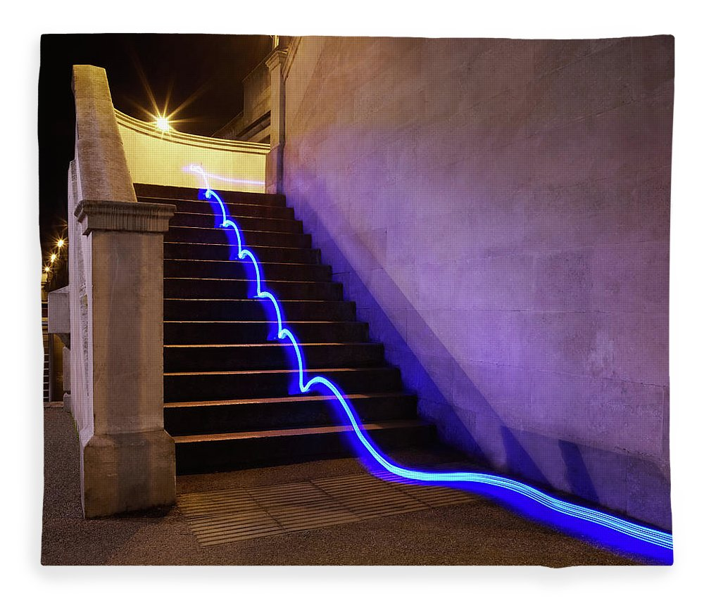 Steps Fleece Blanket featuring the photograph Light Trail On Steps by Tim Robberts