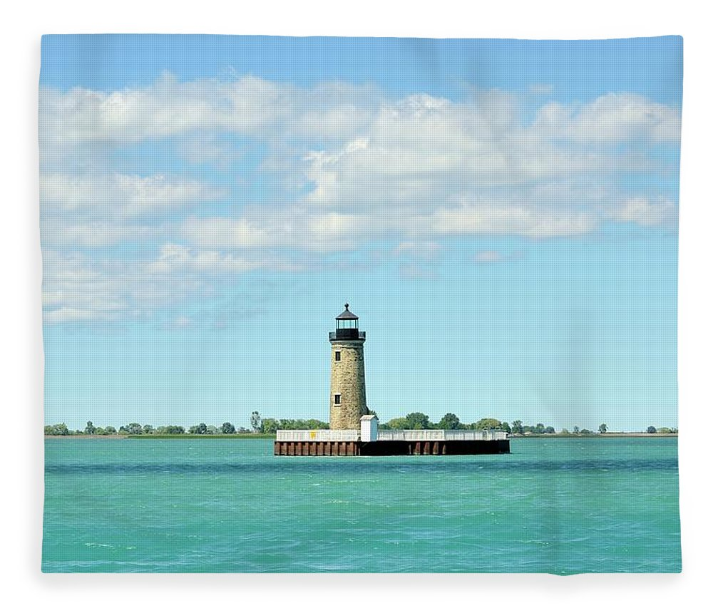 Scenics Fleece Blanket featuring the photograph Lighthouse Lake St. Clair by Rivernorthphotography