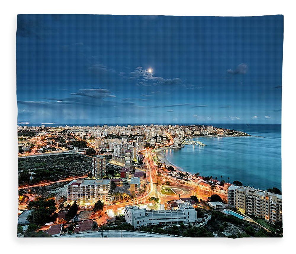 Built Structure Fleece Blanket featuring the photograph Lights In The City by Photographer Of The World