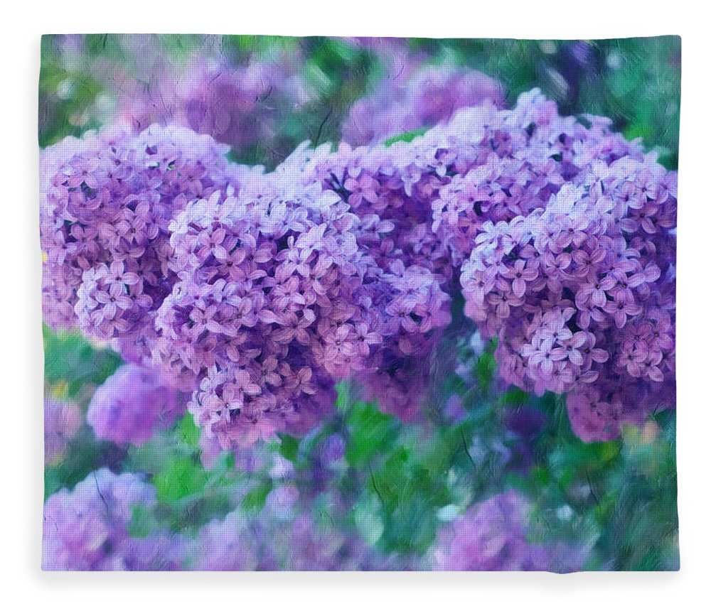 Impressionism Fleece Blanket featuring the mixed media Lilac Cadenza by Georgiana Romanovna