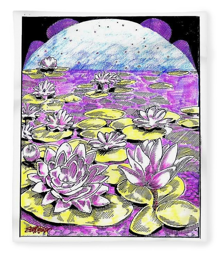 Lilies Of The Lake Fleece Blanket featuring the drawing Lilies of the Lake by Seth Weaver