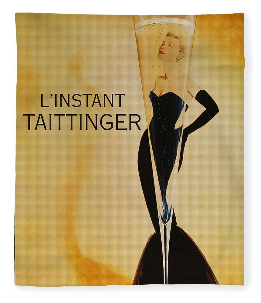L'instant Taittanger Fleece Blanket featuring the digital art L'Instant Taittinger by Georgia Fowler