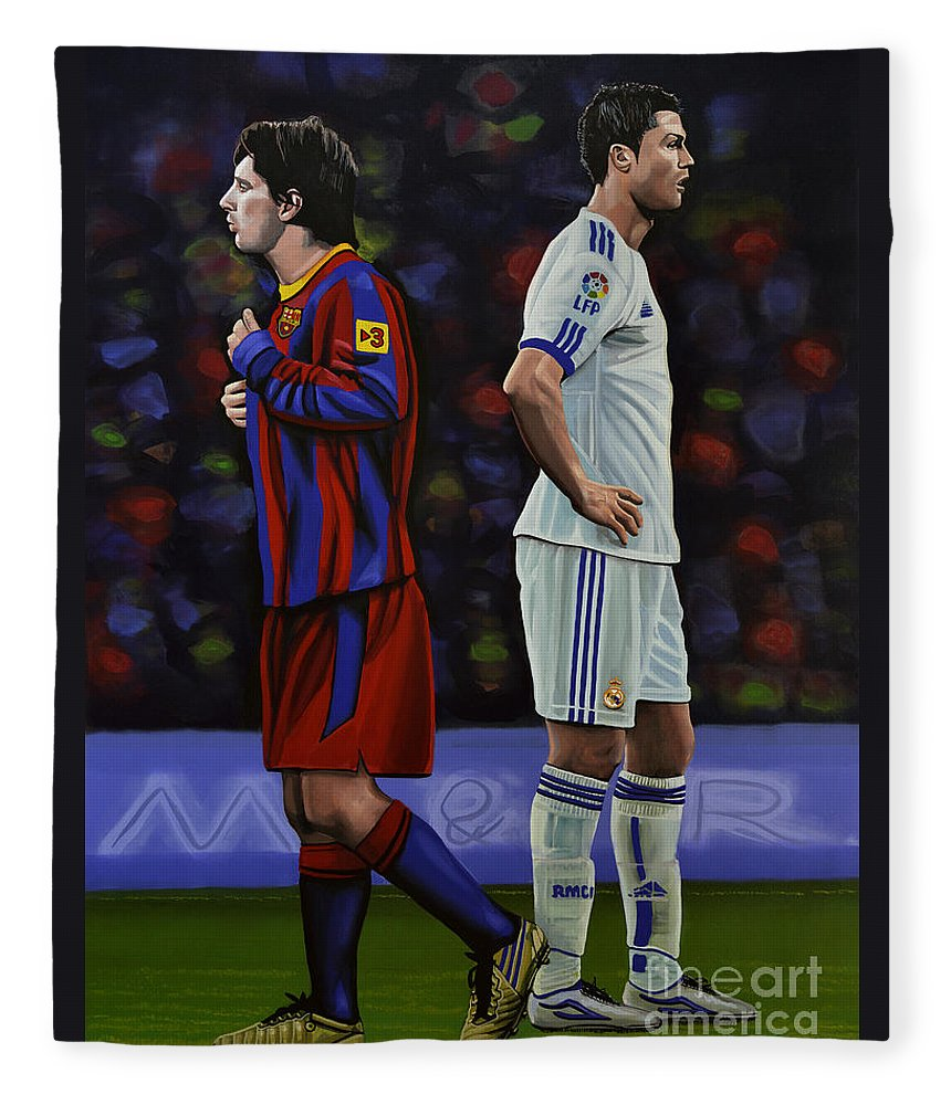Lionel Messi Fleece Blanket featuring the painting Lionel Messi and Cristiano Ronaldo by Paul Meijering