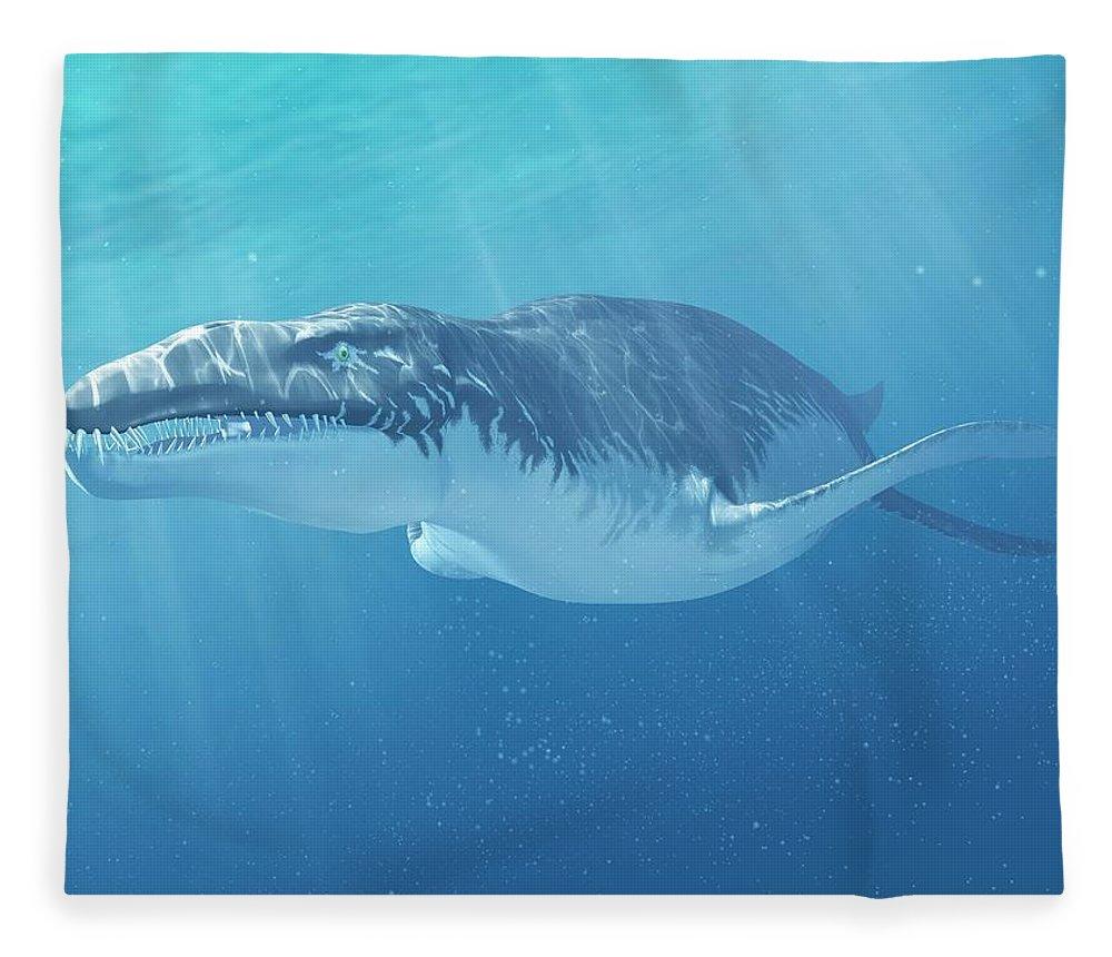 Prehistoric Era Fleece Blanket featuring the digital art Liopleurodon Marine Reptile, Artwork by Sciepro