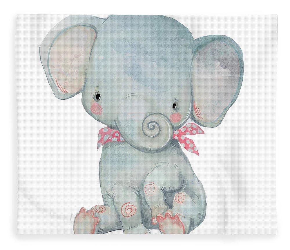 Watercolor Painting Fleece Blanket featuring the digital art Little Pocket Elephant by Cofeee