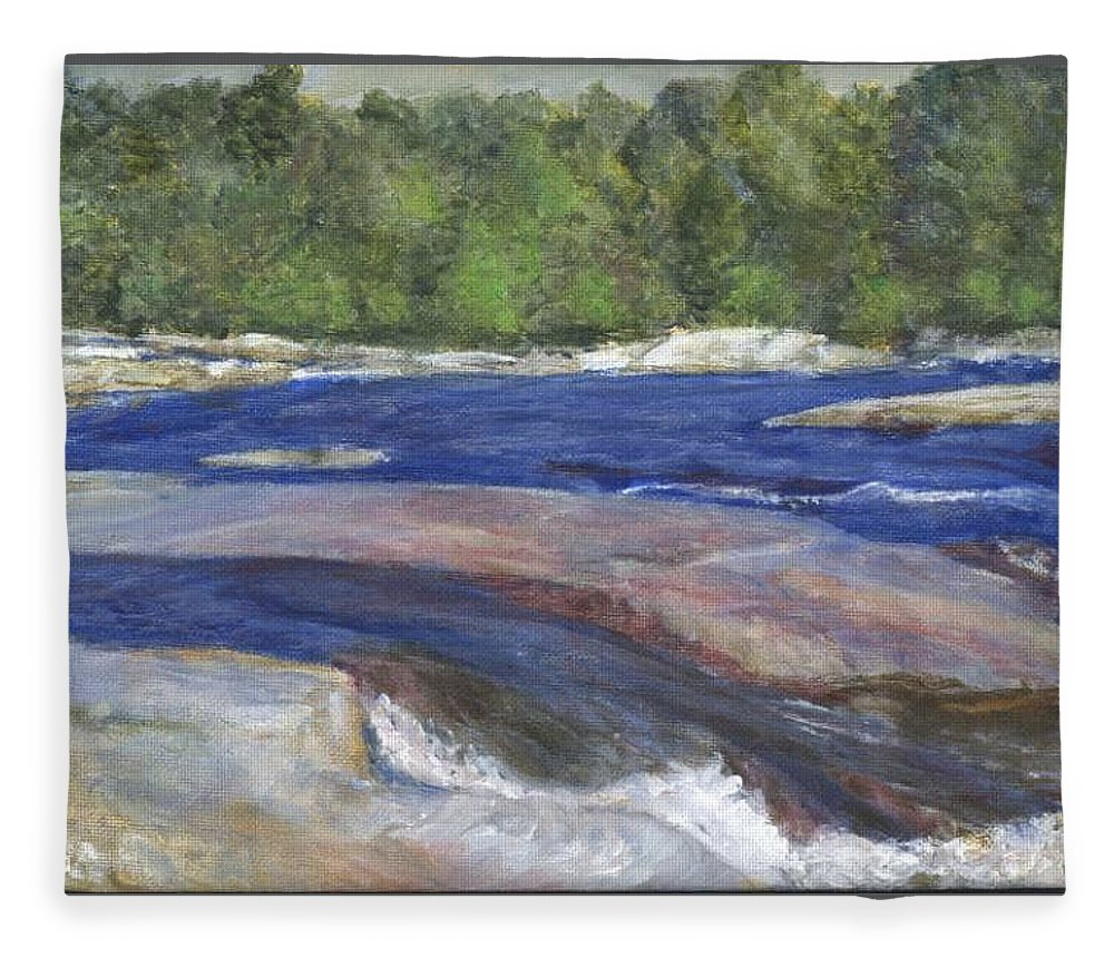 Moose River Fleece Blanket featuring the painting Little Rapids by Sheila Mashaw