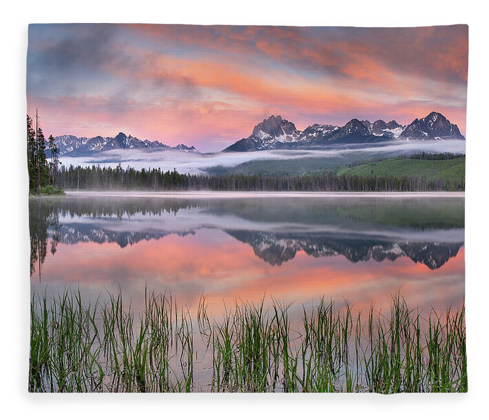Scenics Fleece Blanket featuring the photograph Little Redfish Lake, Sawtooth Mountains by Alan Majchrowicz