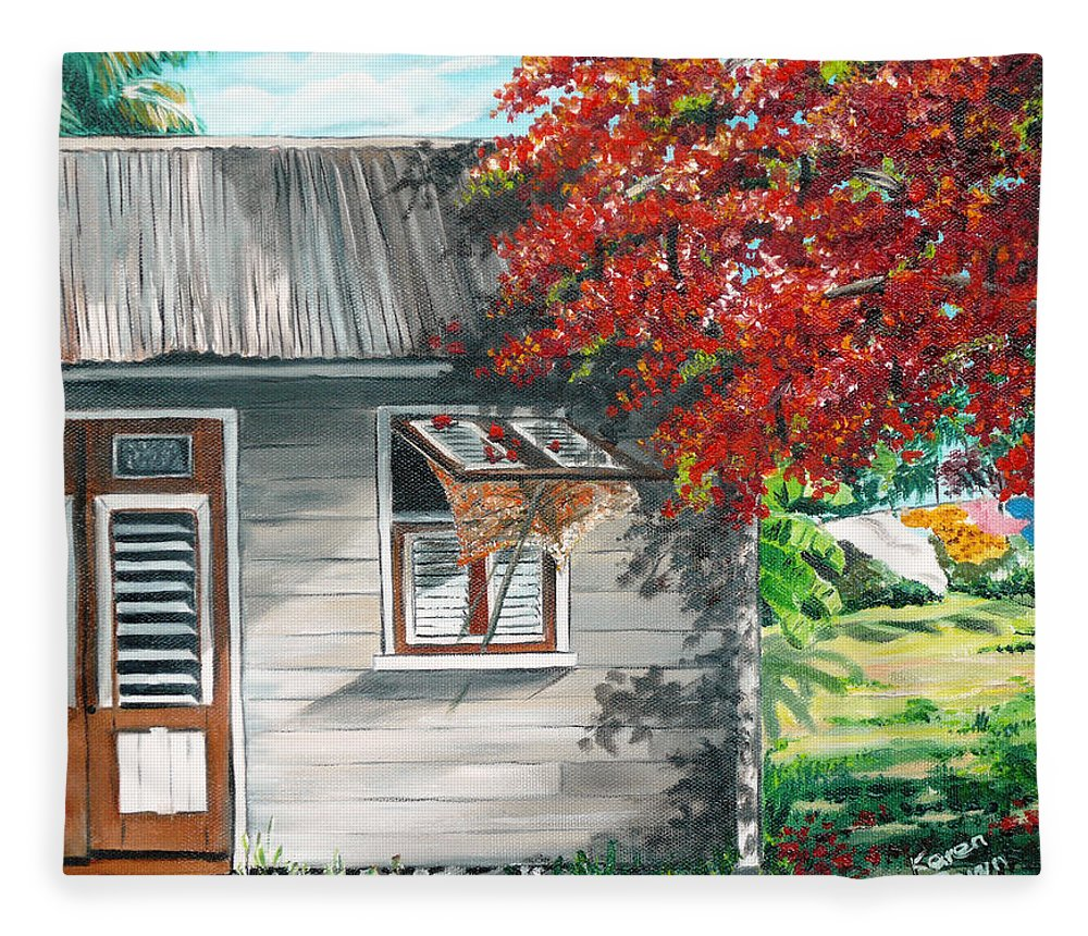 Caribbean Painting Typical Country House In The Caribbean Or West Indian Islands With Flamboyant Tree Tropical Painting Fleece Blanket featuring the painting Little West Indian House 1 by Karin Dawn Kelshall- Best
