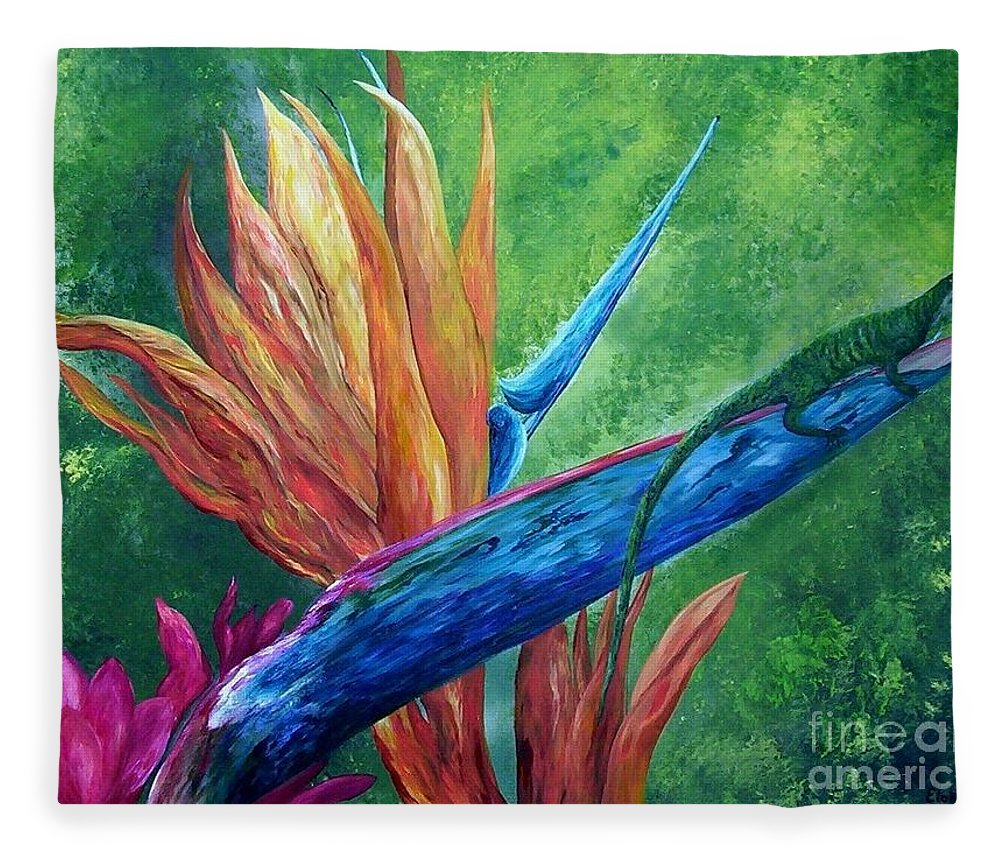 Lizard Fleece Blanket featuring the painting Lizard On Bird Of Paradise by Eloise Schneider Mote