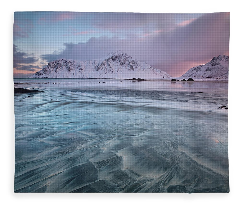 Scenics Fleece Blanket featuring the photograph Lofoten Island Sunrise by Antonyspencer