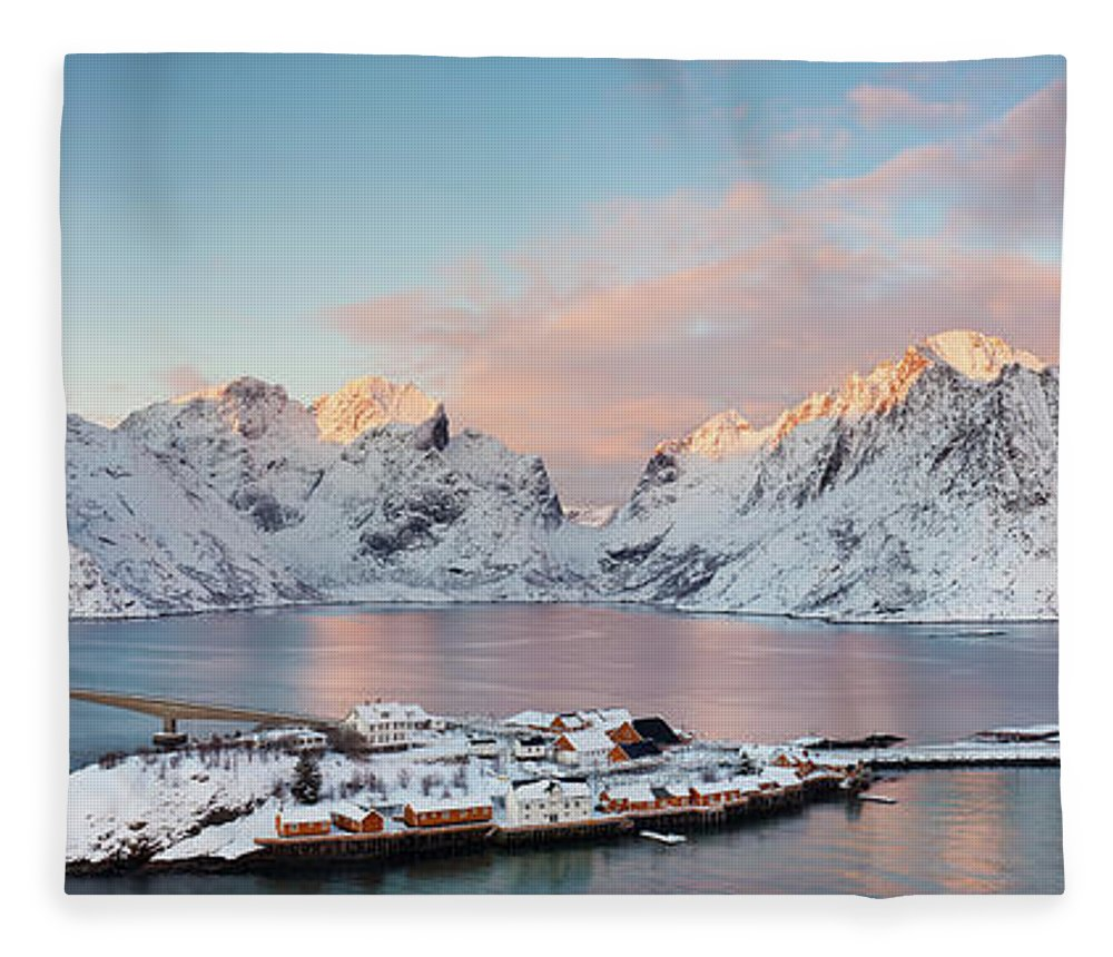 Tranquility Fleece Blanket featuring the photograph Lofoten Islands Winter Panorama by Esen Tunar Photography