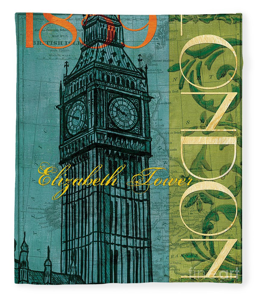 London Fleece Blanket featuring the painting London 1859 by Debbie DeWitt