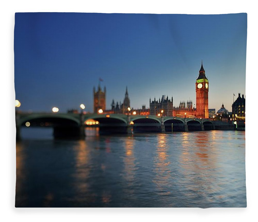 Tranquility Fleece Blanket featuring the photograph London, Palace Of Westminster At Sunset by Vladimir Zakharov