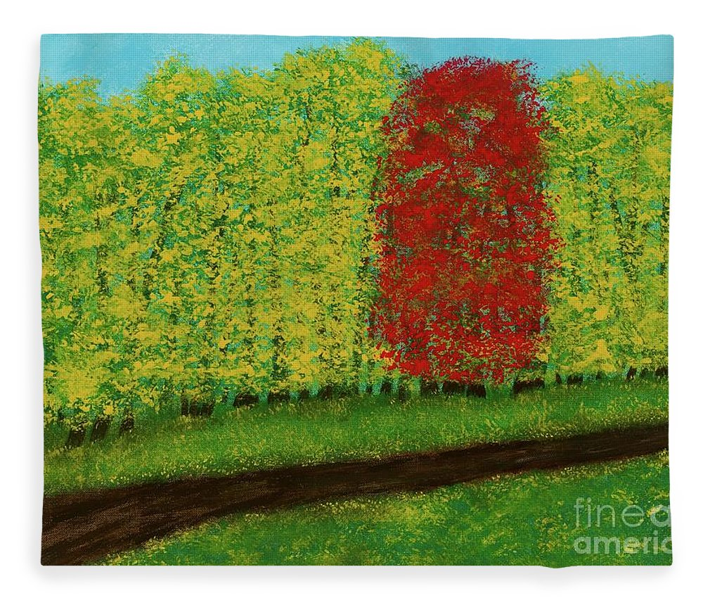 Landscape Fleece Blanket featuring the painting Lone Maple Among The Ashes by Hillary Binder-Klein