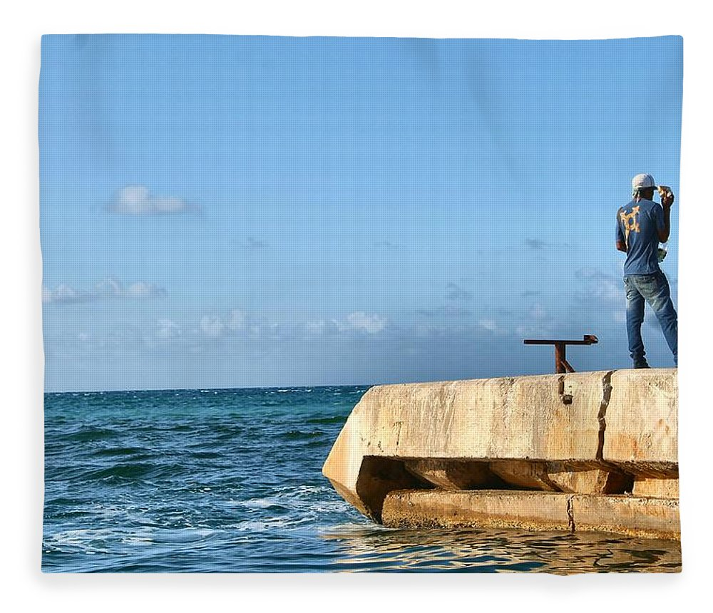 Water Fleece Blanket featuring the photograph Looking Out To Sea by Debbie Levene