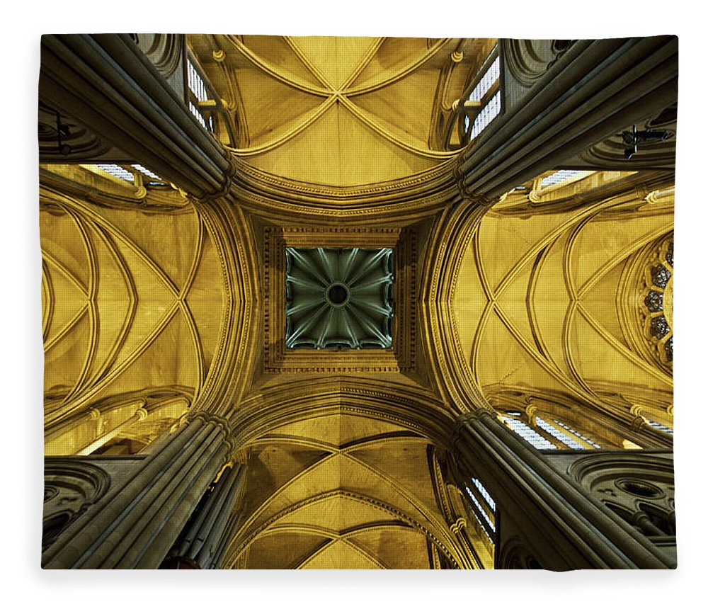 Arch Fleece Blanket featuring the photograph Looking Up At A Cathedral Ceiling by James Ingham / Design Pics