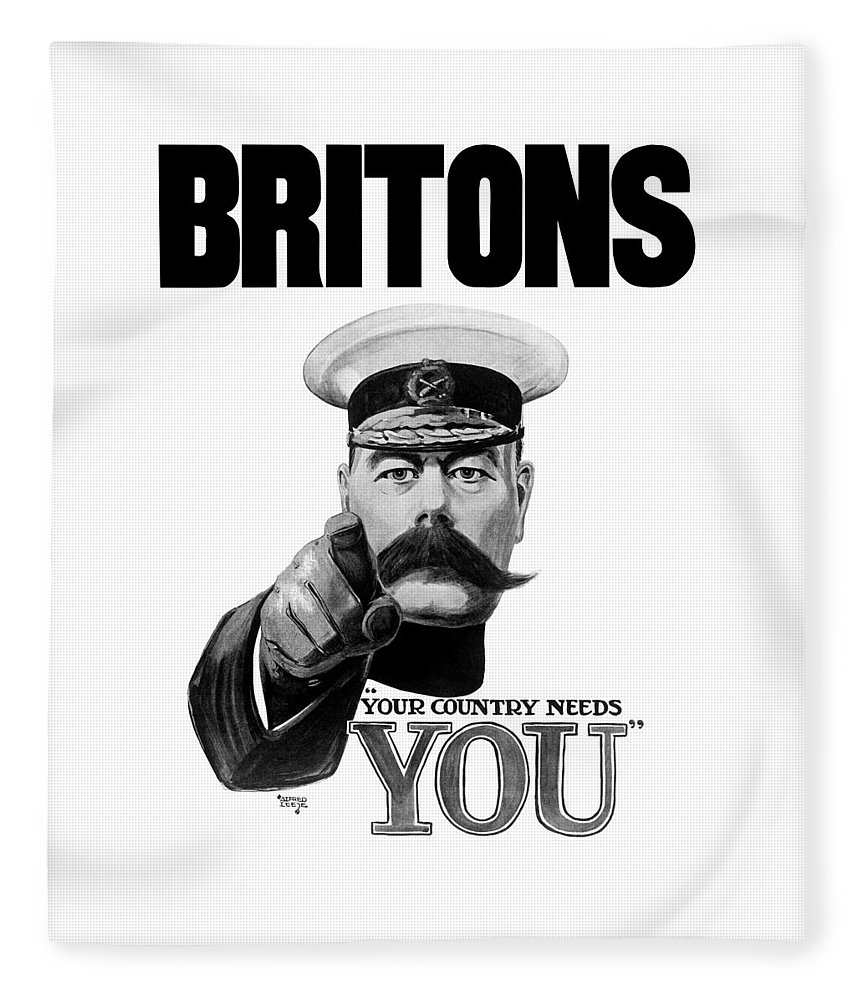 Lord Kitchener - Britons Your Country Needs You Fleece Blanket for ...