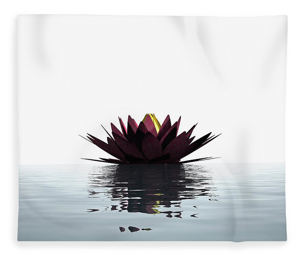 White Background Fleece Blanket featuring the photograph Lotus Flower Floating On The Water by Artpartner-images