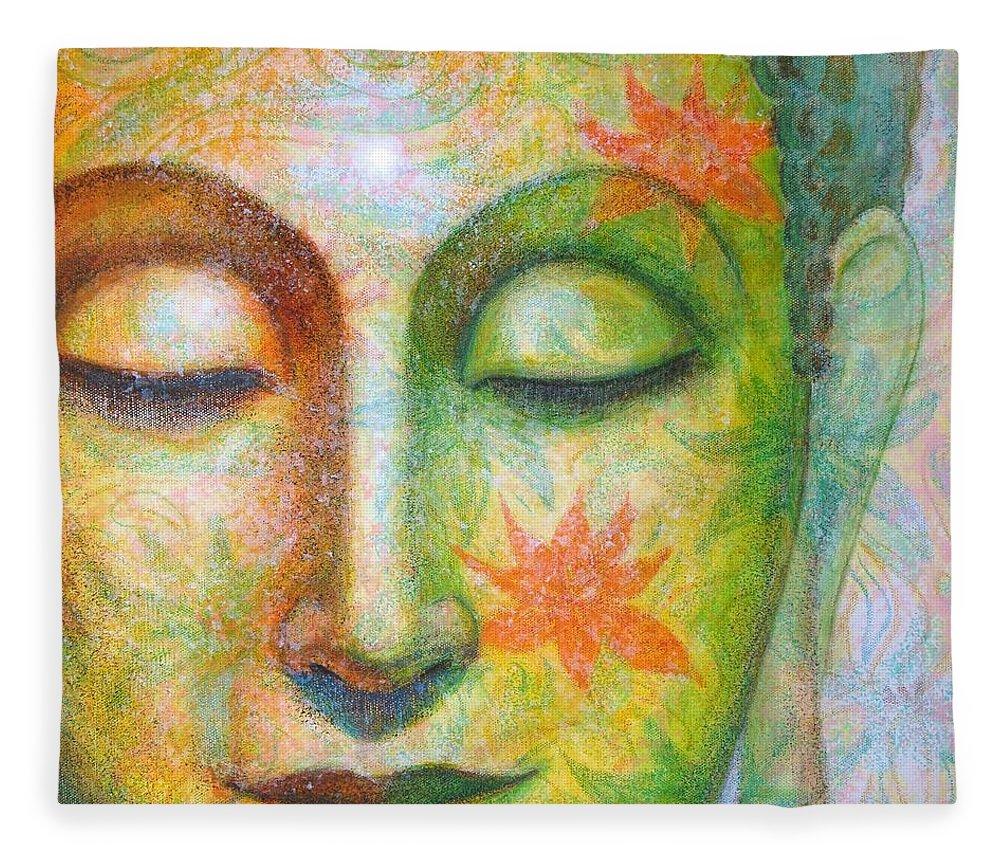 Buddha Fleece Blanket featuring the painting Lotus Meditation Buddha by Sue Halstenberg